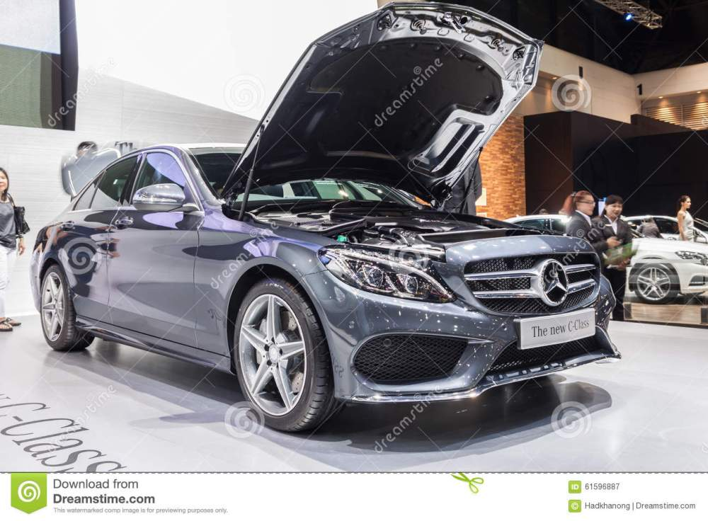 medium resolution of nontaburi thailand 2 dec mercedes benz the new c class open bonnet for showing engine on display showed in 31th thailand international motor expo on 2
