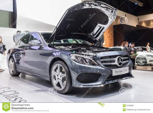 small resolution of nontaburi thailand 2 dec mercedes benz the new c class open bonnet for showing engine on display showed in 31th thailand international motor expo on 2