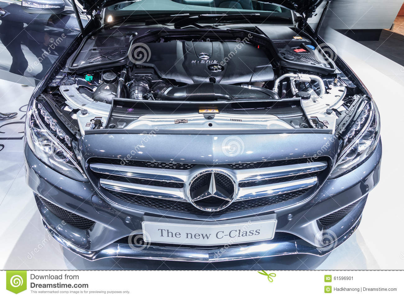 hight resolution of nontaburi thailand 2 dec mercedes benz the new c class open bonnet for showing engine on display showed in 31th thailand international motor expo on 2