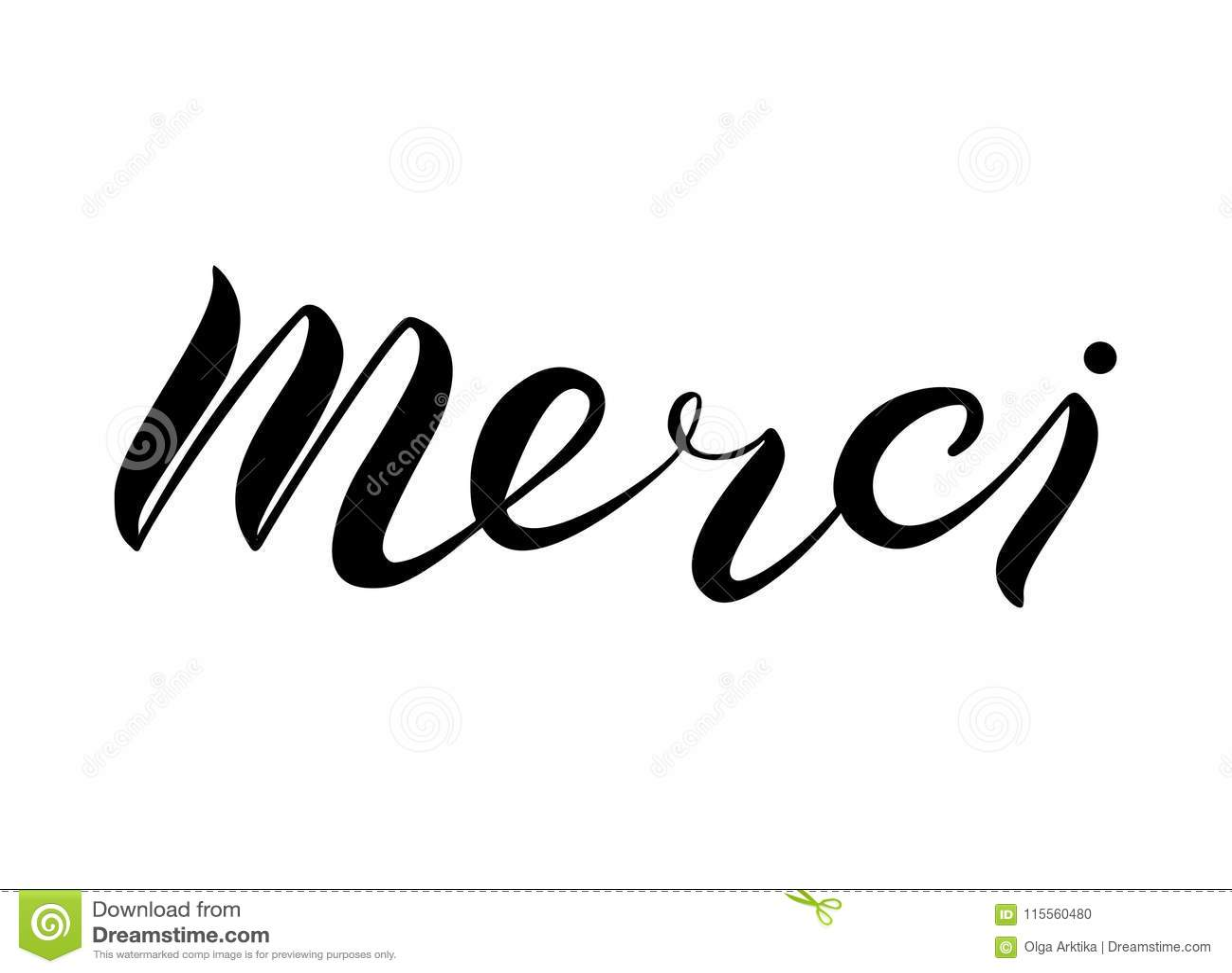 Hand Lettering Merci On White Background Stock Vector