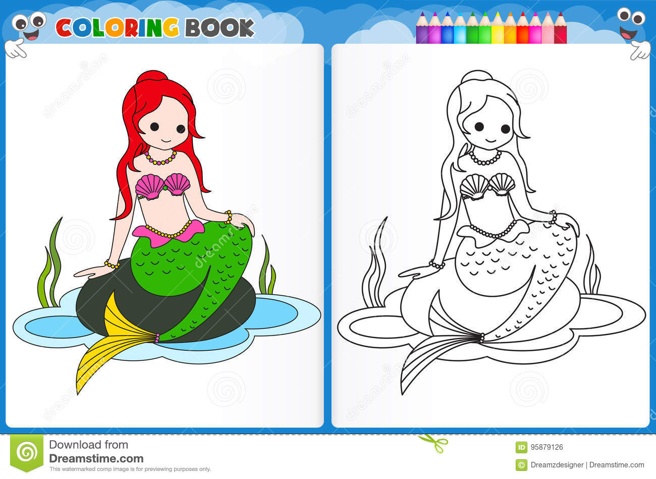 Mermaid Coloring Page Stock Illustration Illustration Of