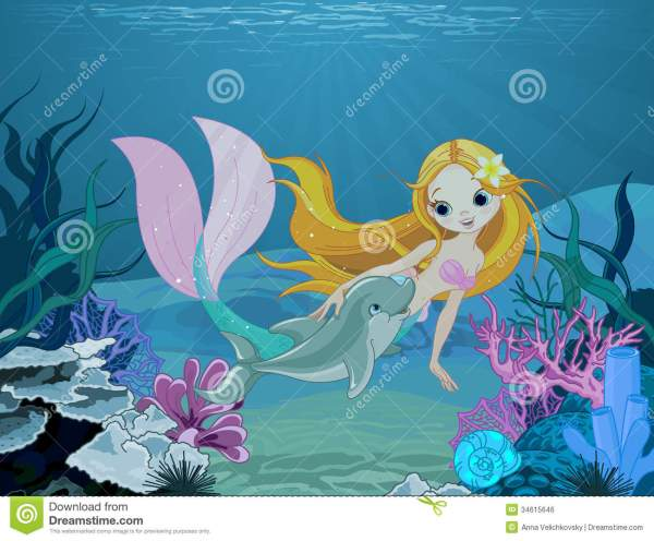 A Cute Mermaid Swimming with Dolphins Cartoons