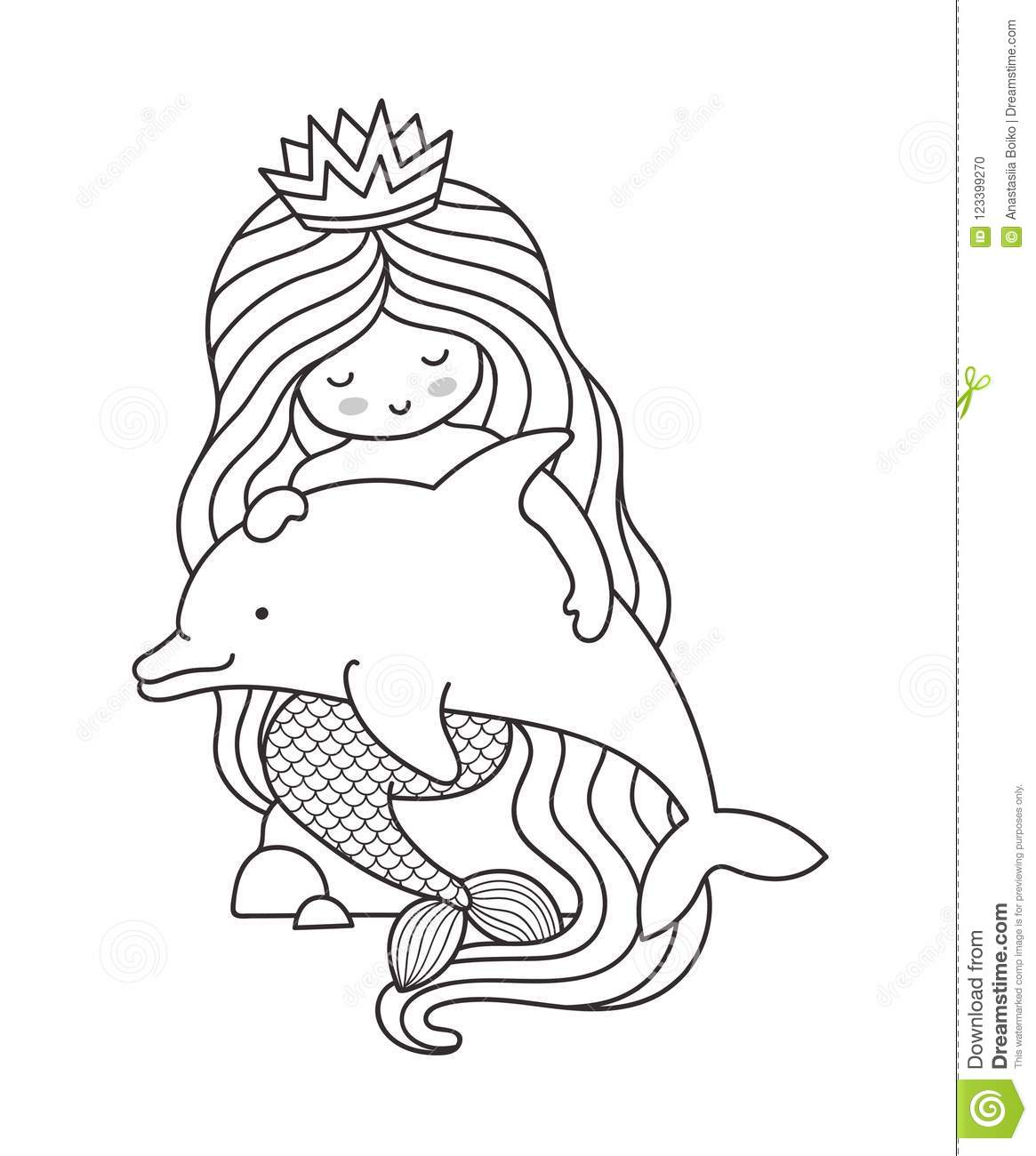 Mermaid With Long Beautiful Hair Sitting On A Rock