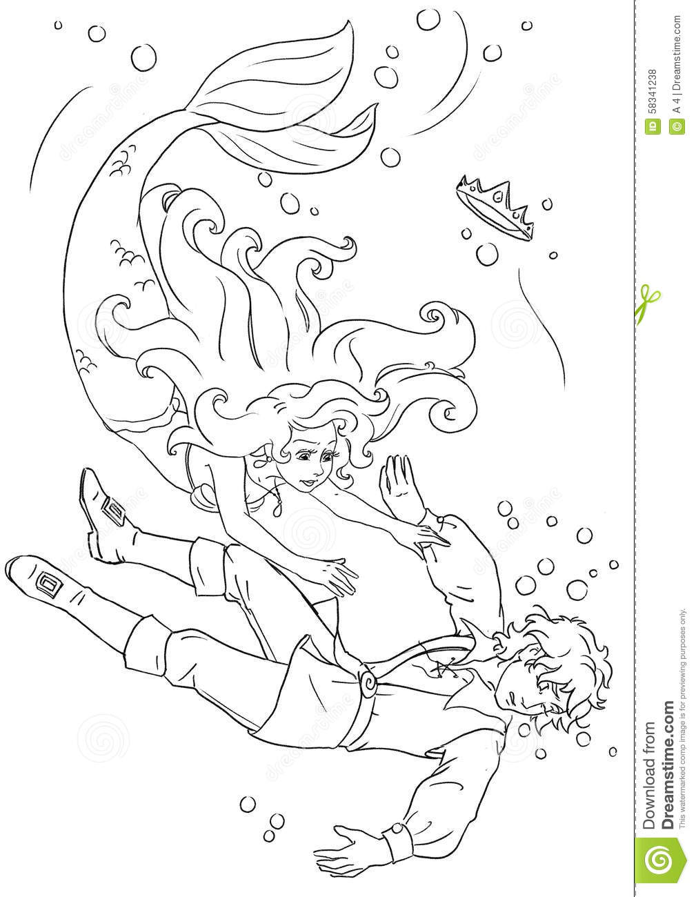 Mermaid And Prince Coloring Page Stock Illustration