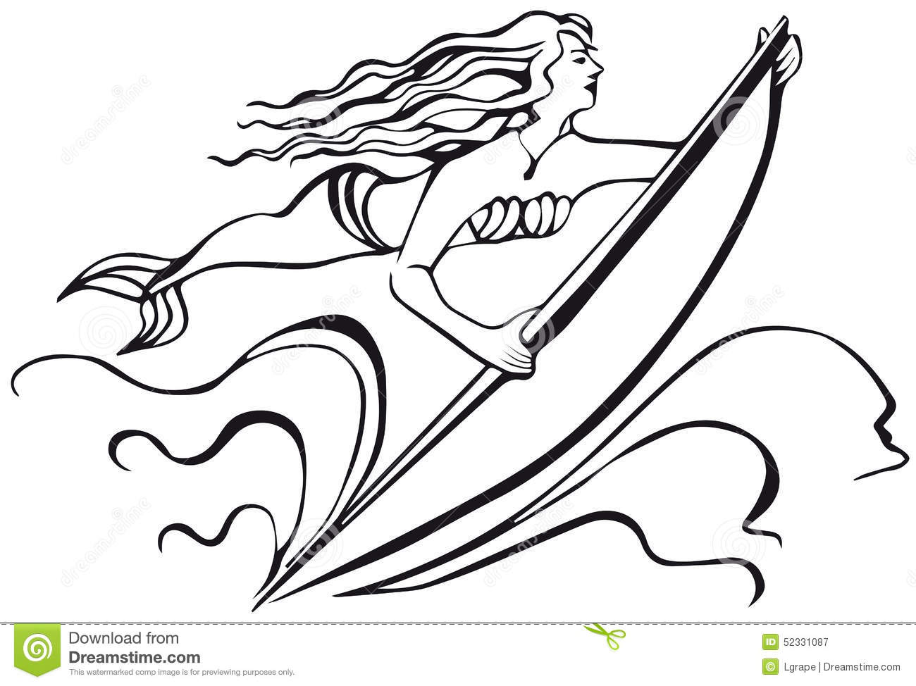 Mermaid With A Surfboard Silhouette Of Woman Stock