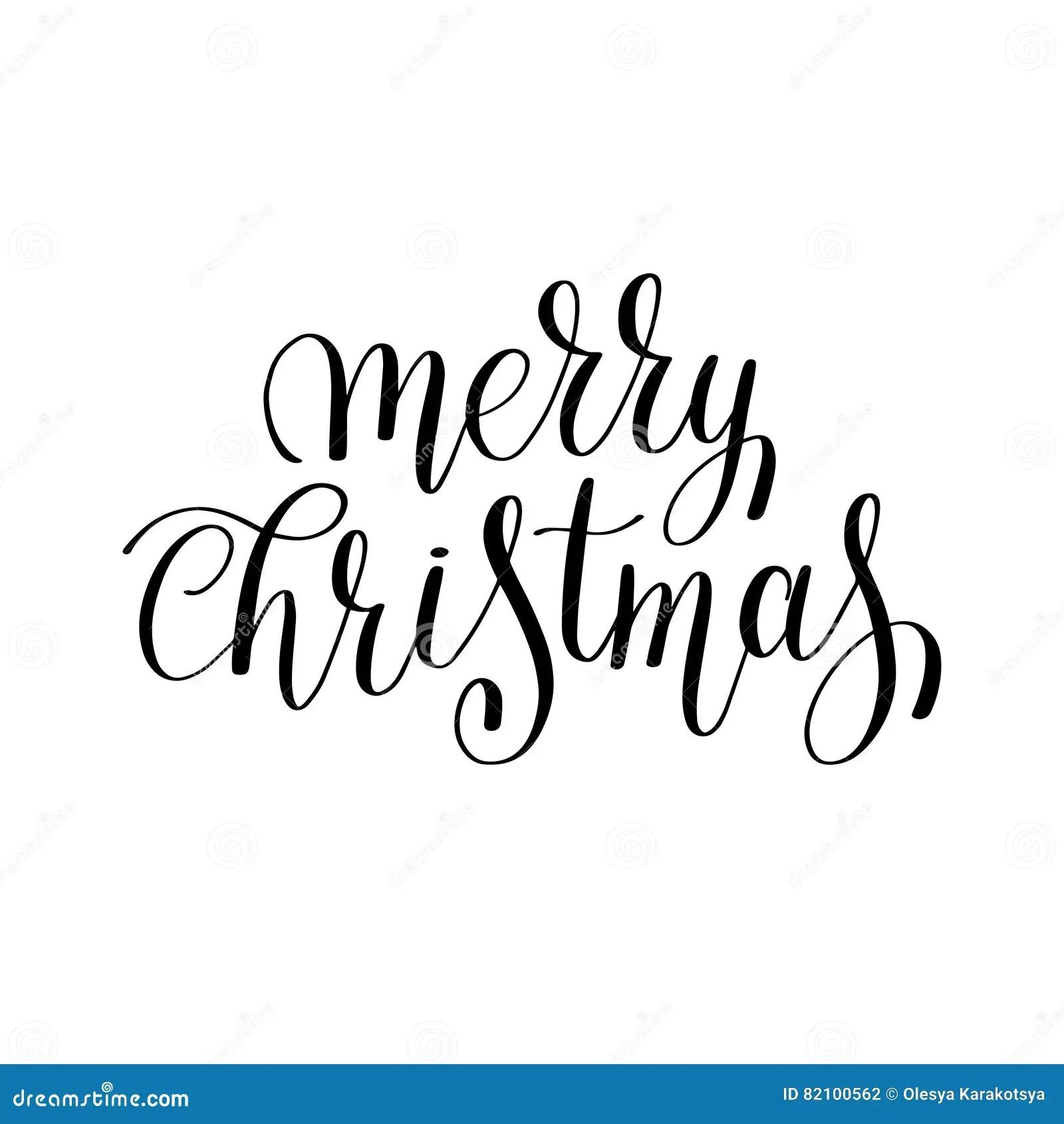 Merry Christmas Phrase On White Cartoon Vector