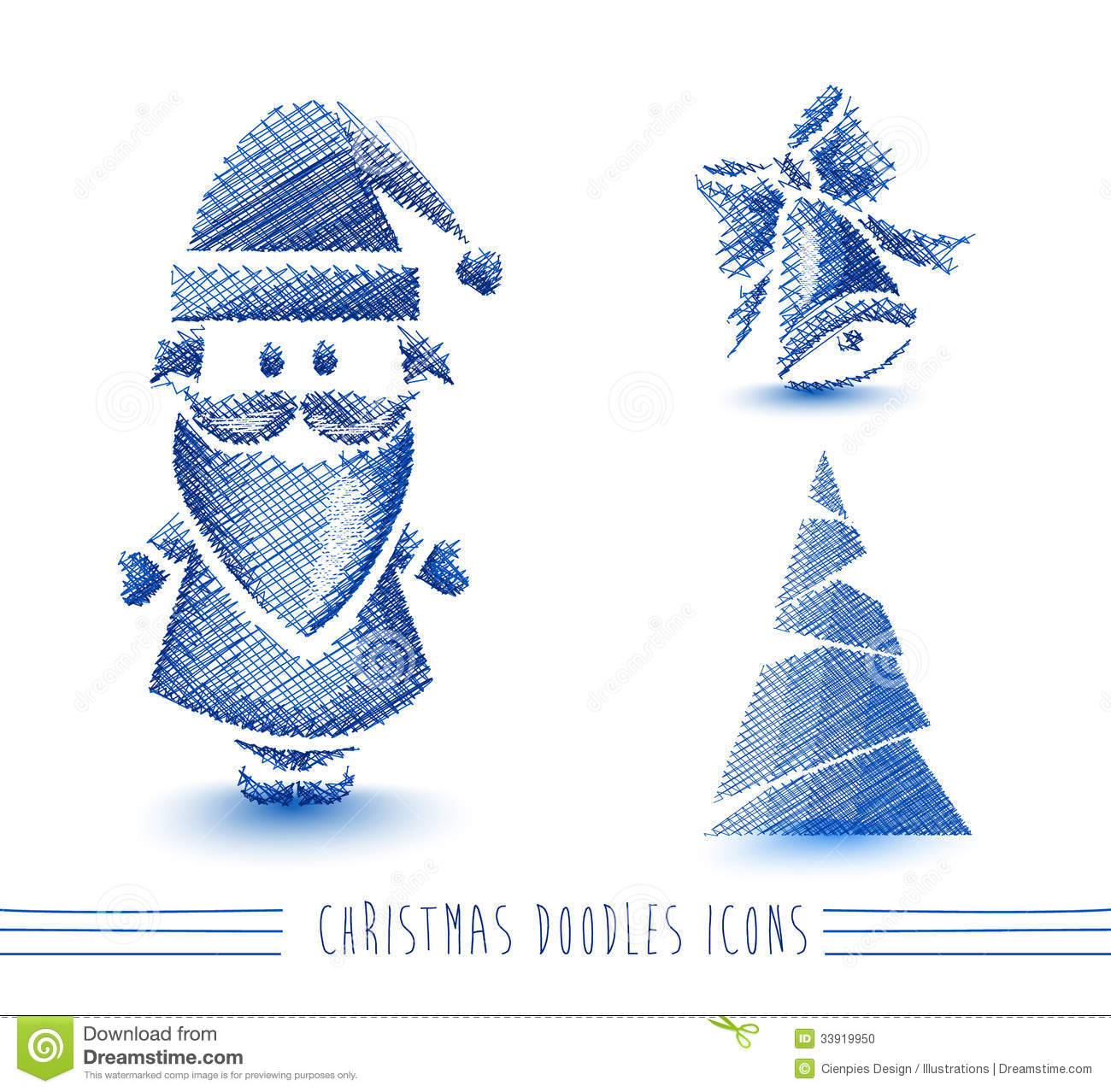 Merry Christmas Blue Sketch Style Elements Set EPS Stock