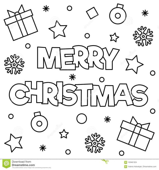 Merry Christmas. Coloring Page. Vector Illustration. Stock Vector