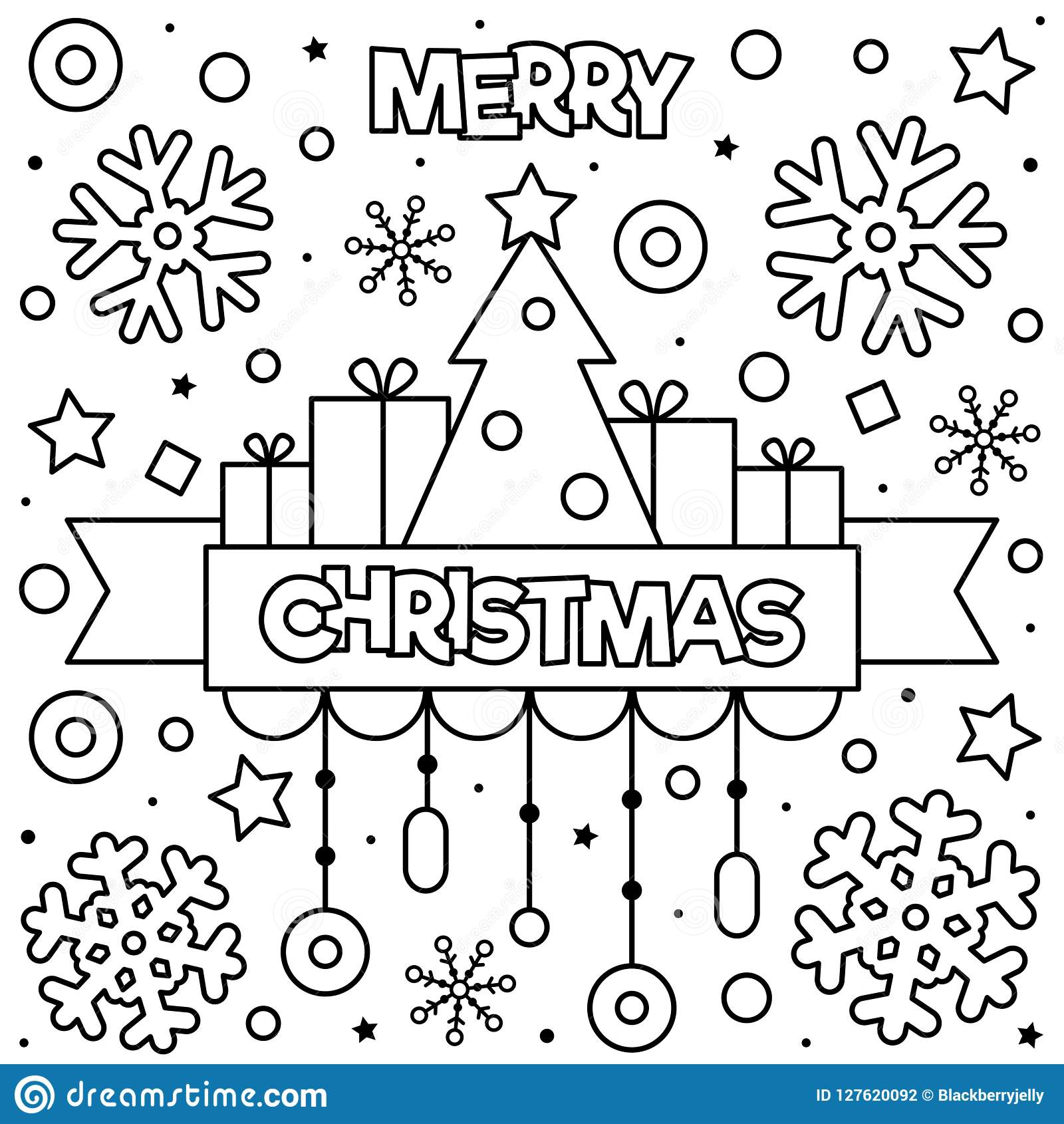 Merry Christmas Coloring Page Black And White Vector
