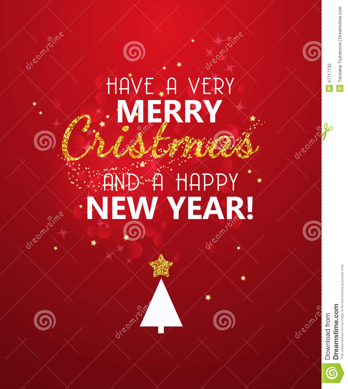 Merry Christmas Glitter Message On Red Shining Background
