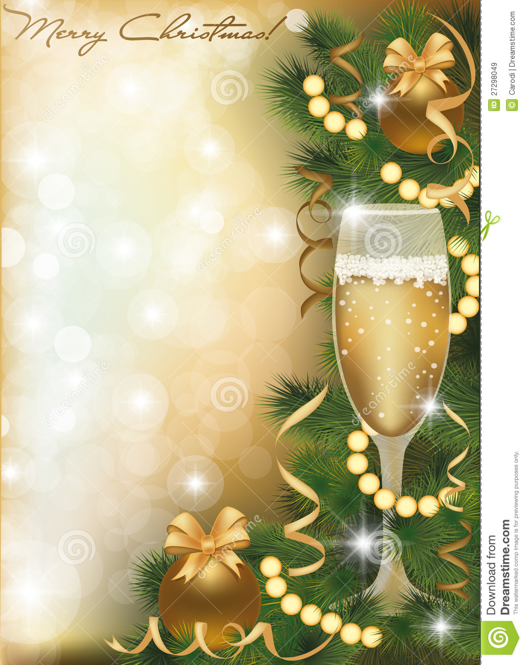 Merry Christmas Greeting Card With Champagne Stock Vector