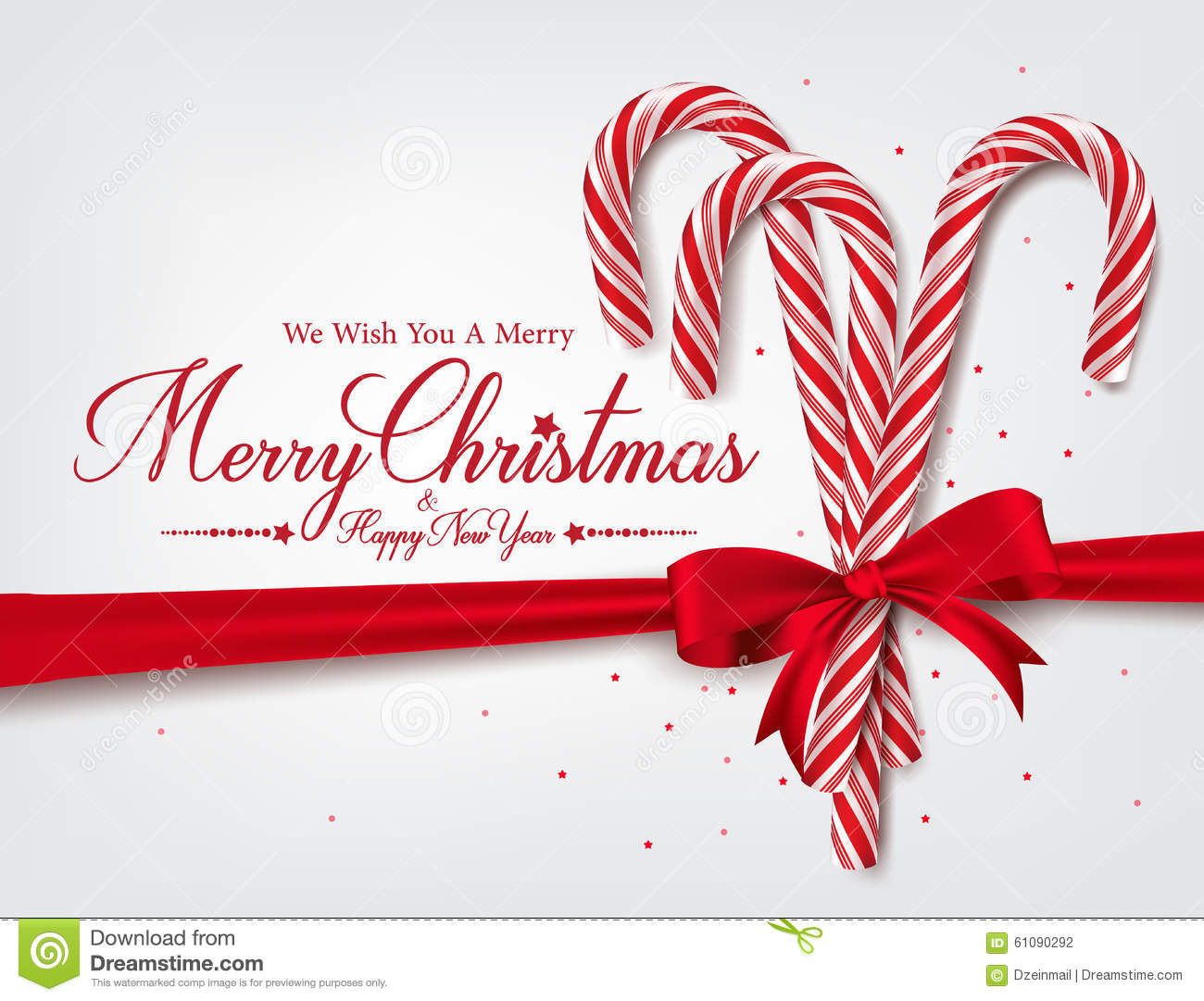 Merry Christmas Greetings In Realistic 3D Candy Cane Stock