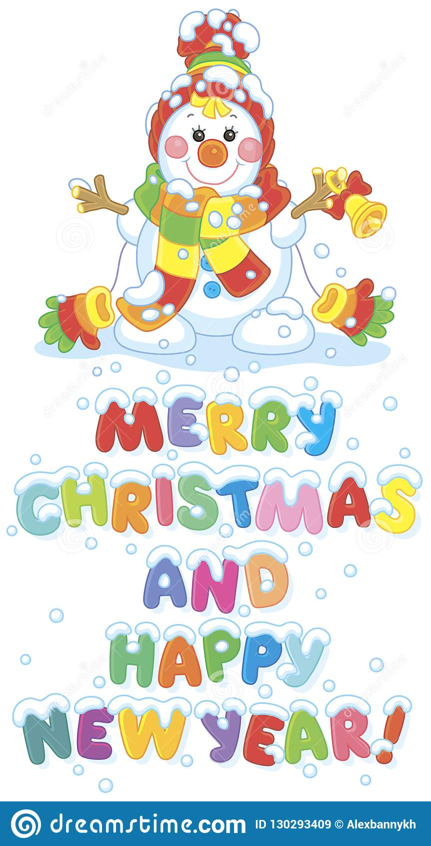 hight resolution of christmas card with a funny snowman