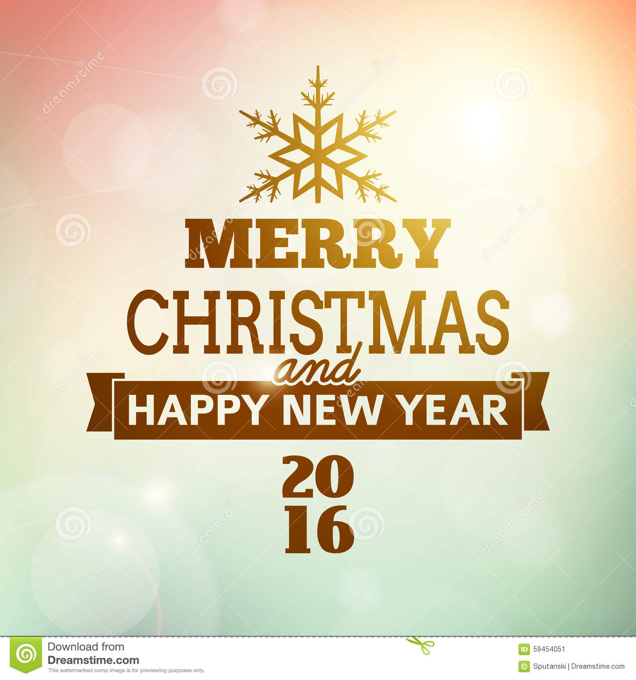 Merry Christmas And Happy New Year 2016 Poster Stock