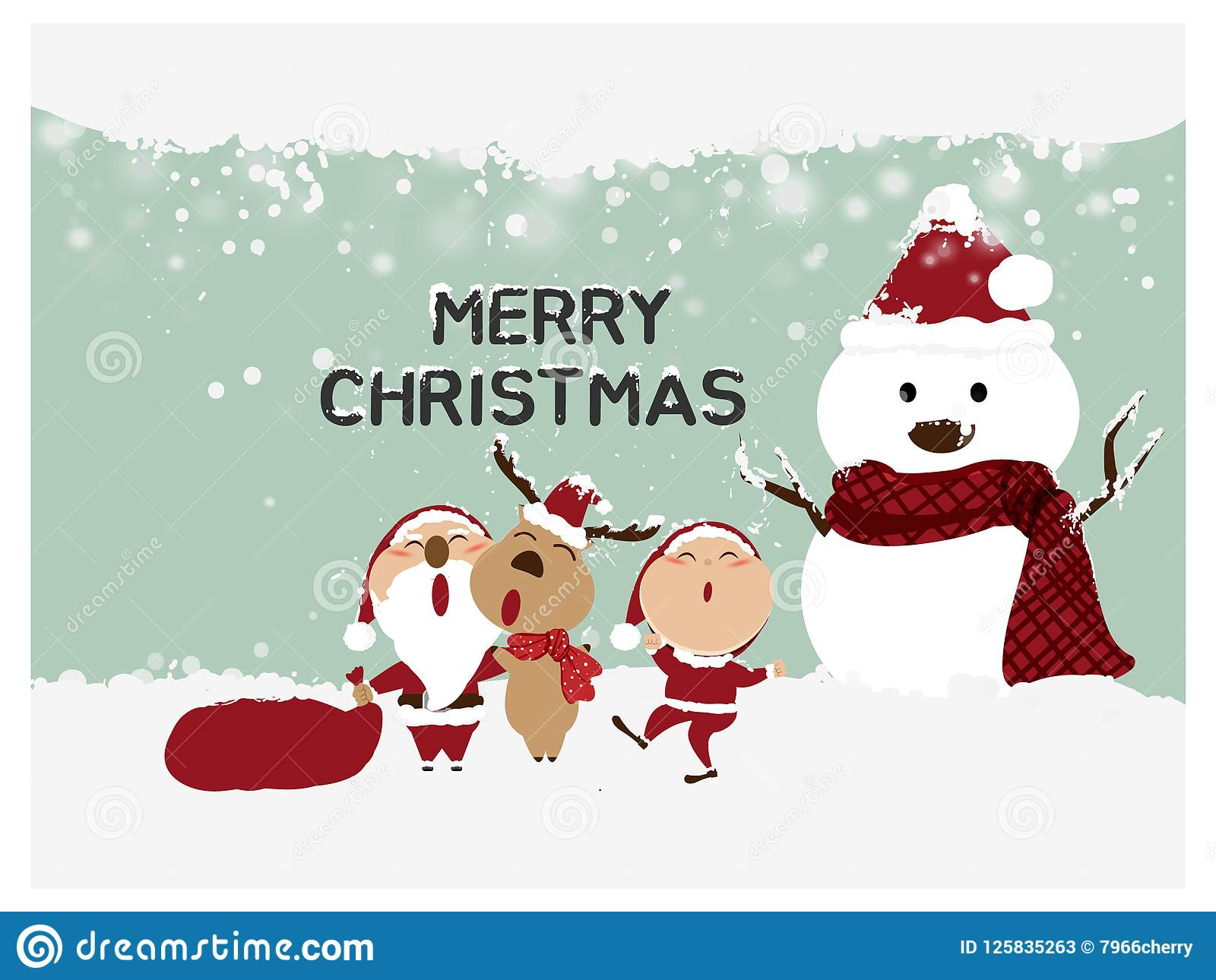 Merry Christmas And Happy New Year Santa Claus Snowman