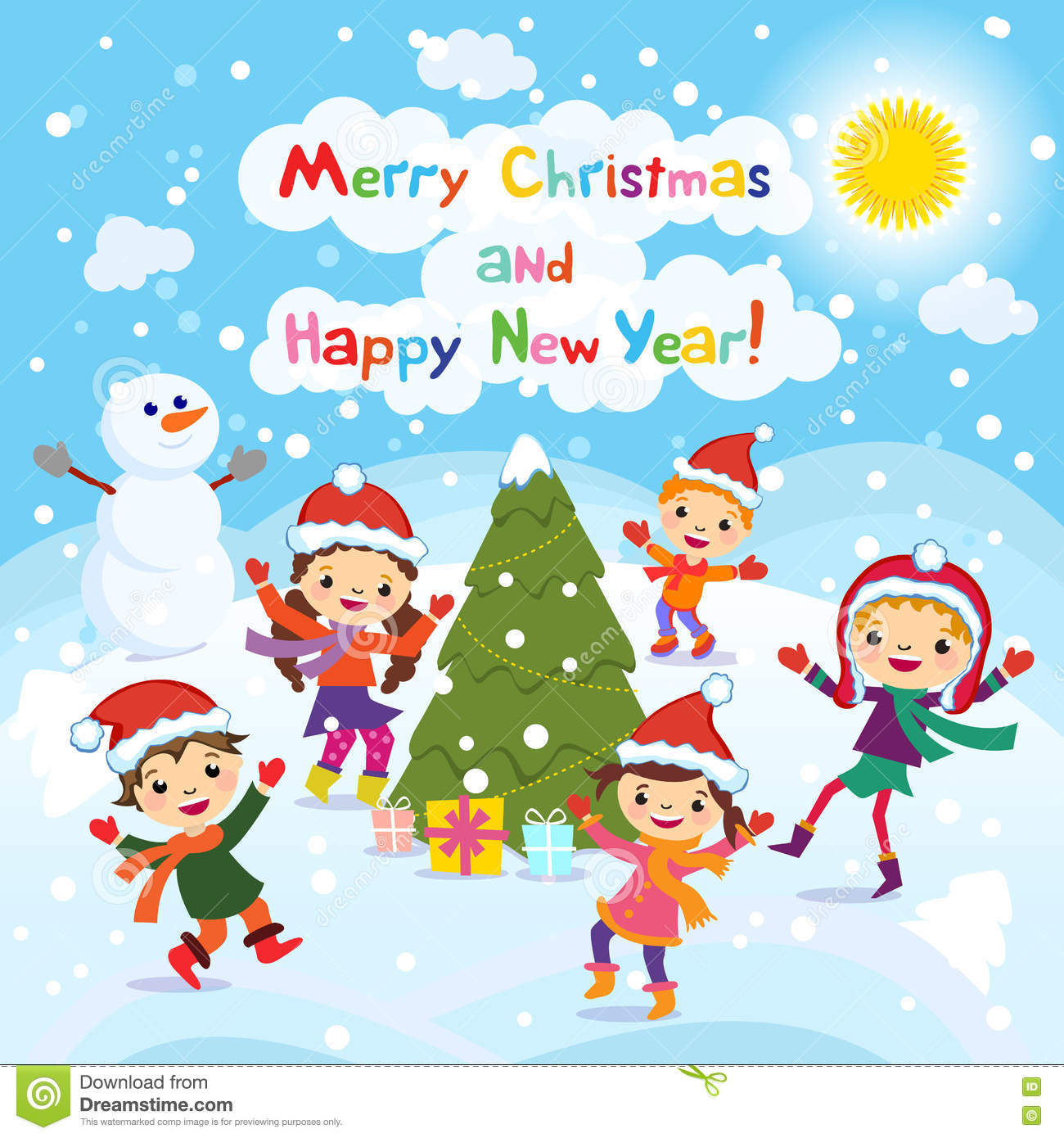 Merry Christmas And Happy New Year Winter Fun