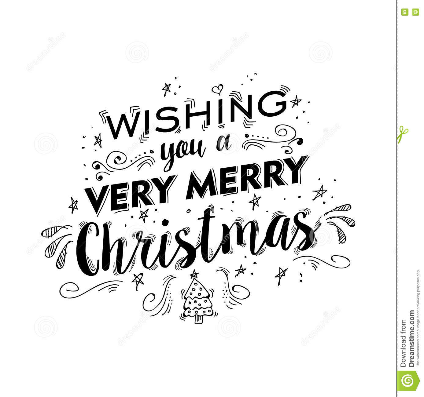 Merry Christmas Lettering Design With Text Quote Stock