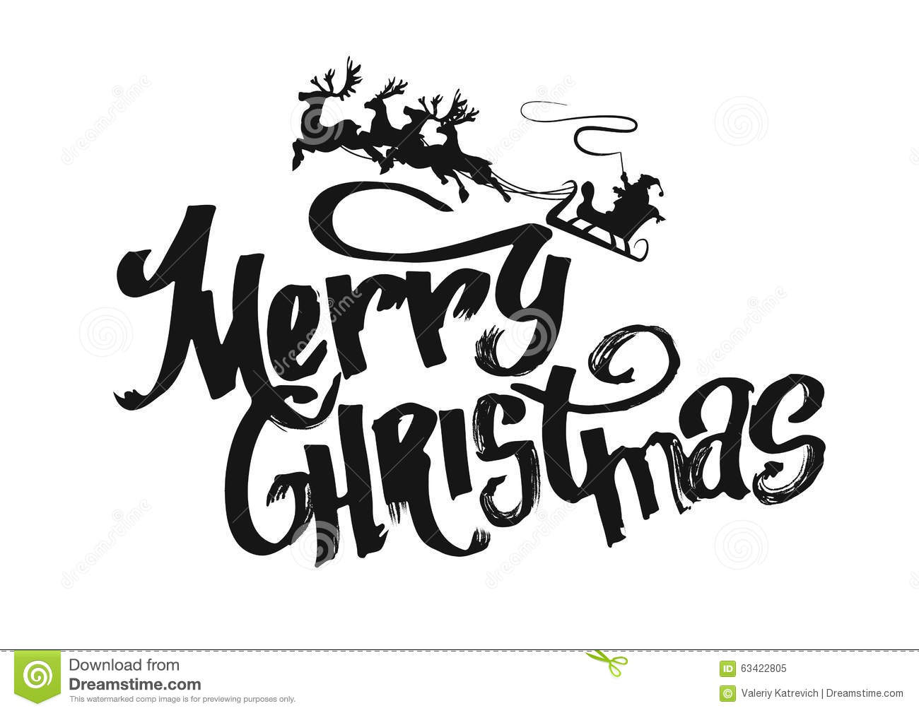 Merry Christmas Lettering Design Vector Stock Vector