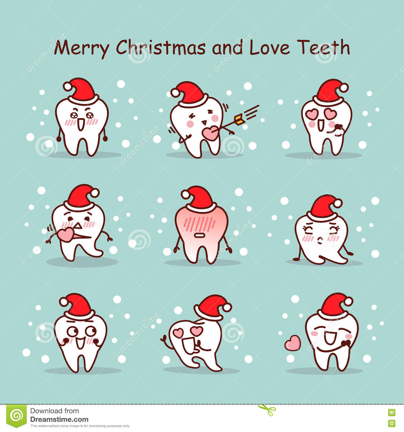 Merry Christmas And Happy Teeth Vector Illustration