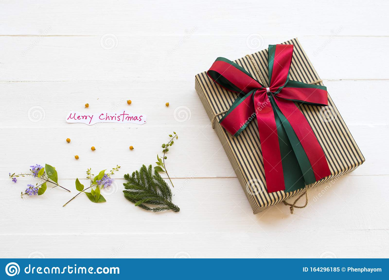 Merry Christmas Message Card Handwriting With T Box For