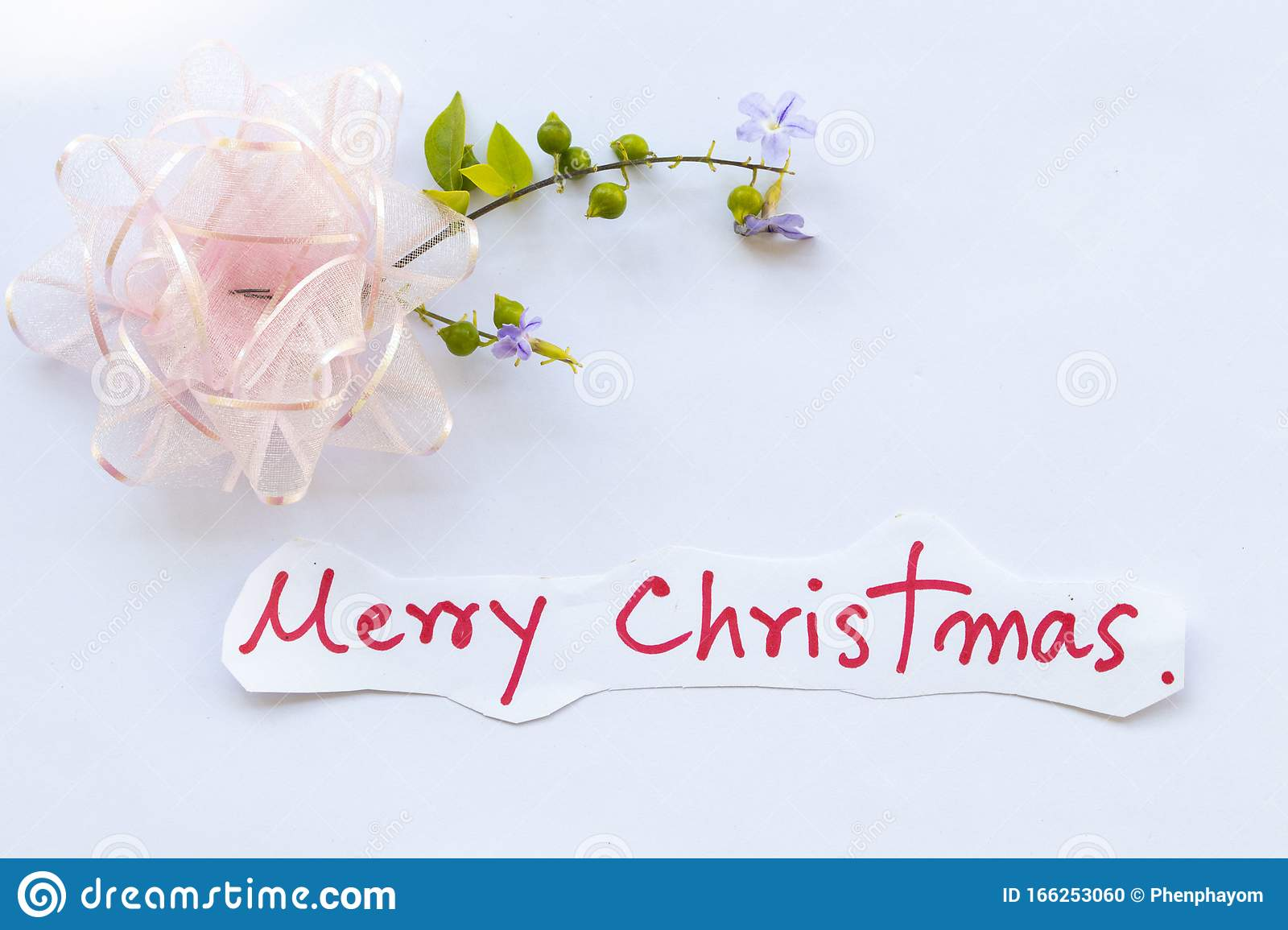 Merry Christmas Message Card Handwriting With Pink Bow For