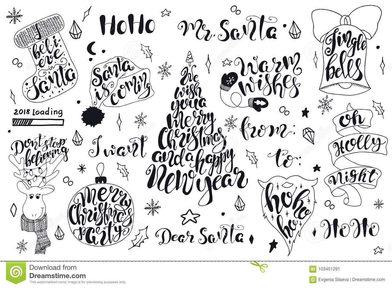 Merry Christmas Quotes Lettering Set Happy New Year