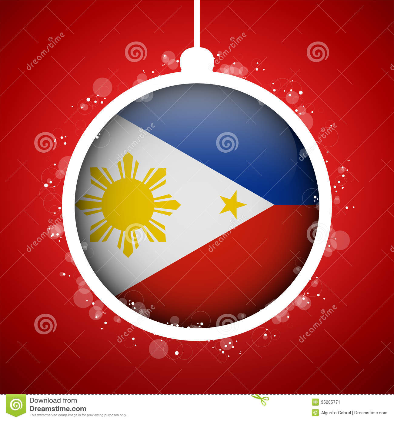 Merry Christmas Red Ball With Flag Philippines Stock