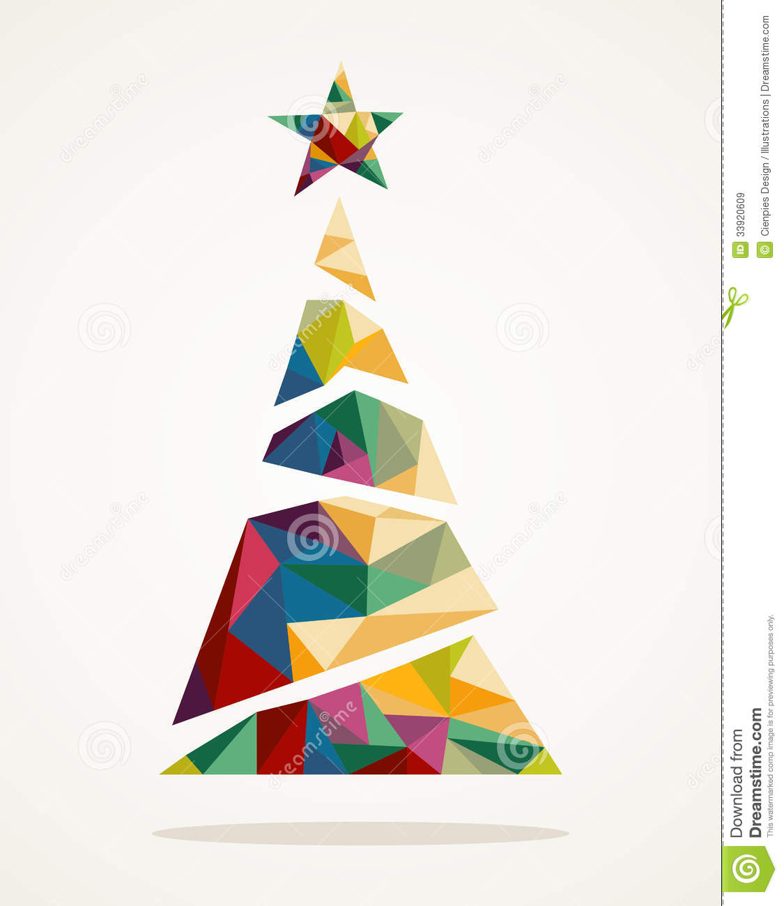 Merry Christmas Trendy Abstract Tree EPS10 File Royalty