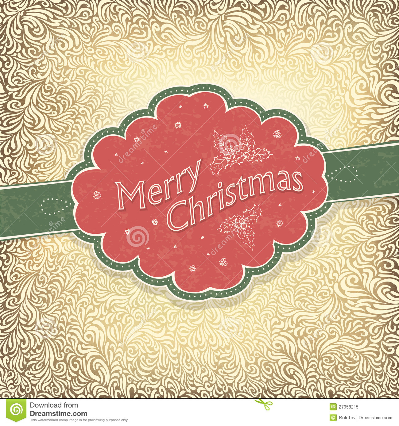 Merry Christmas Vintage Card Stock Vector  Image 27958215