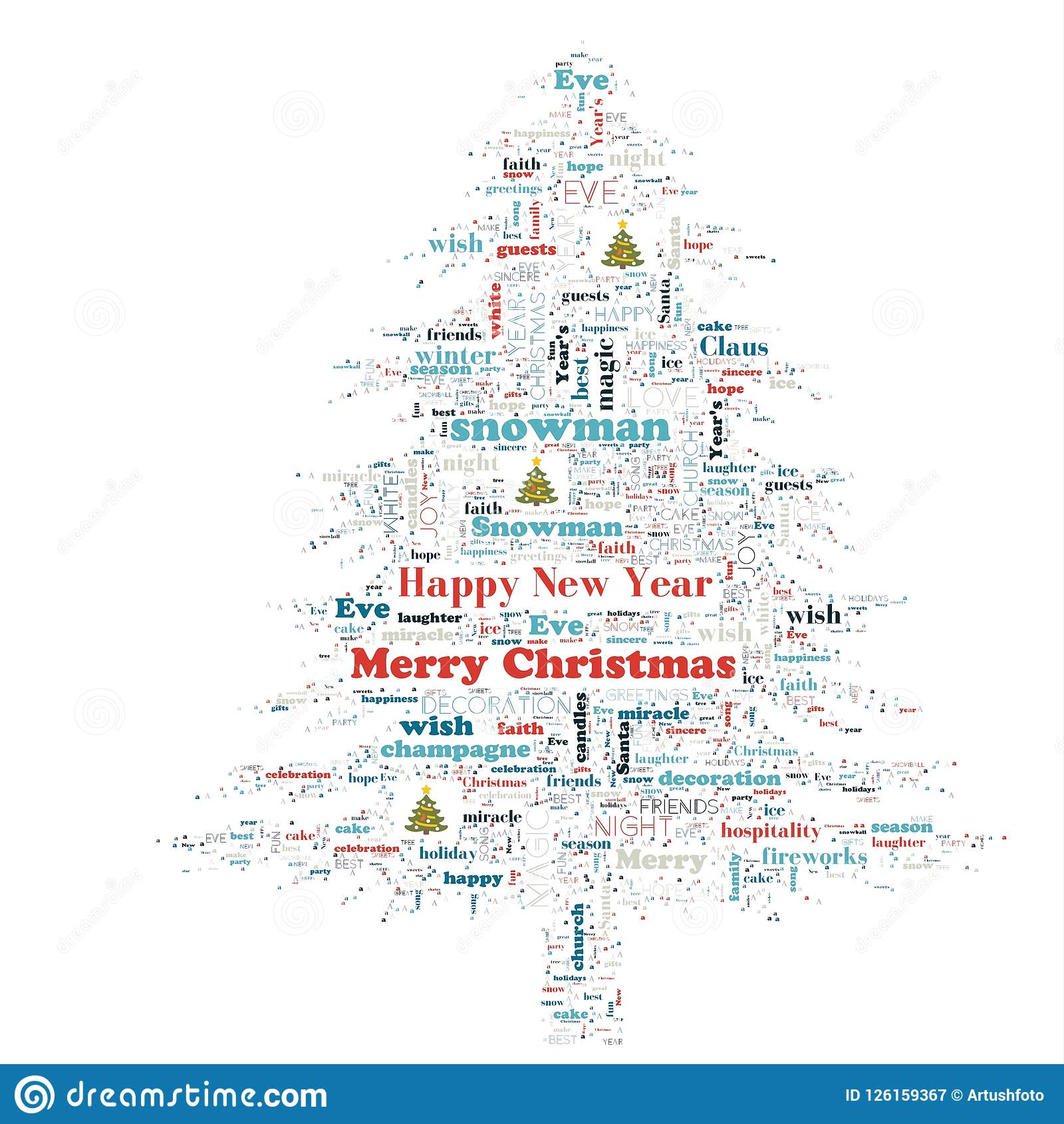 Merry Christmas Word Cloud In Tree Shape Stock
