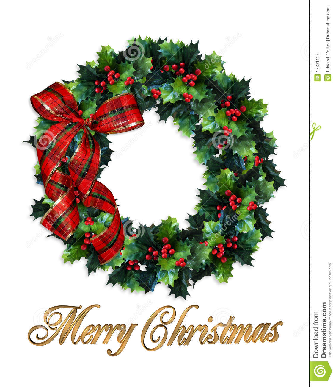 Merry Christmas Wreath Holly Stock Illustration