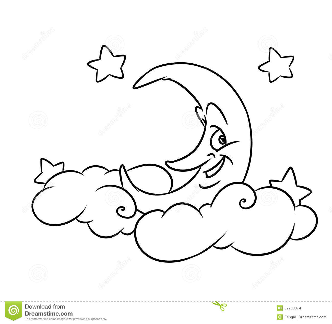 Merry Month Clouds Stars Coloring Page Stock Illustration