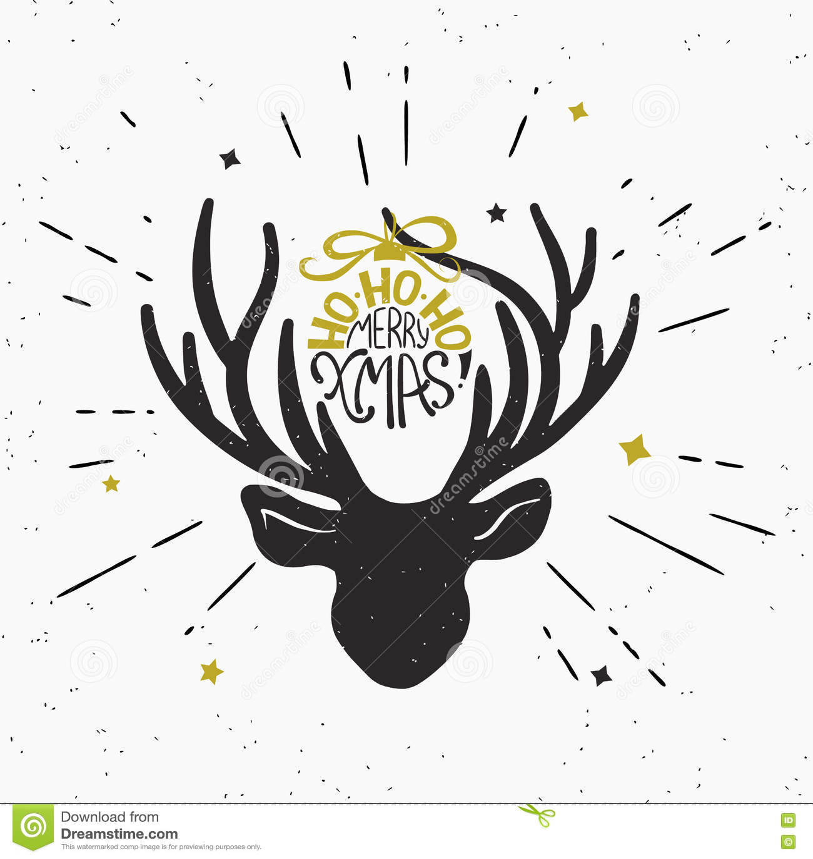 Merry Xmas With Deer Black Head Silhouette Stock Vector