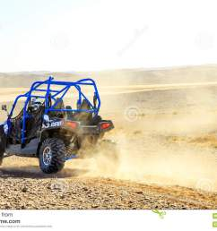 merzouga morocco feb 25 2016 back view on blue polaris rzr 800 with it s pilot in morocco desert near merzouga merzouga is famous for its dunes  [ 1300 x 957 Pixel ]