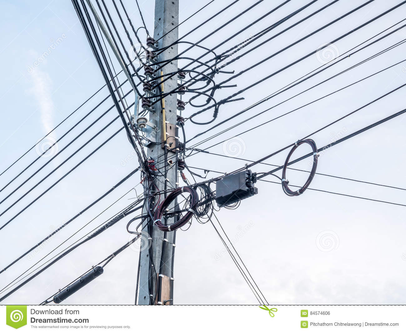 hight resolution of mess electric and telephone cables on outdoor pole in bangkok