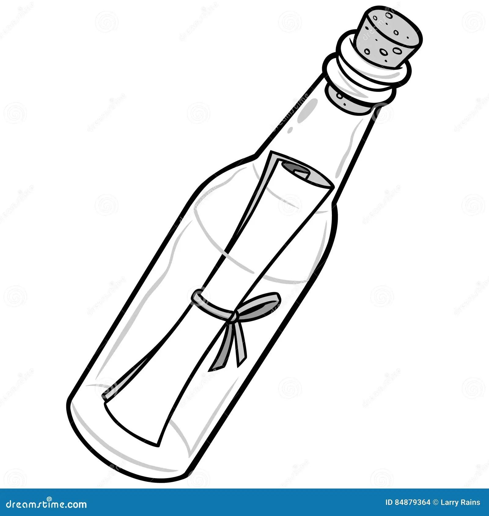 Cartoon Letter In A Bottle