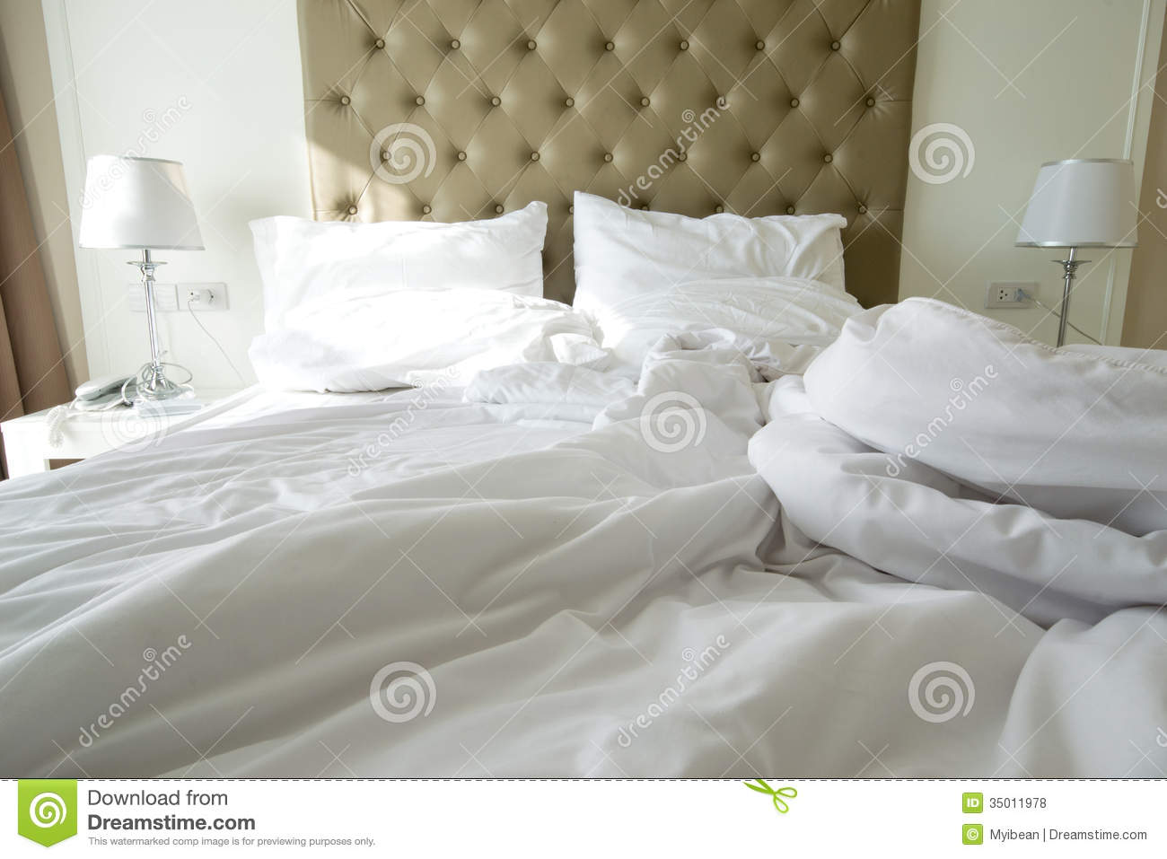 Messy Bedding Sheets And Pillow Royalty Free Stock Photos