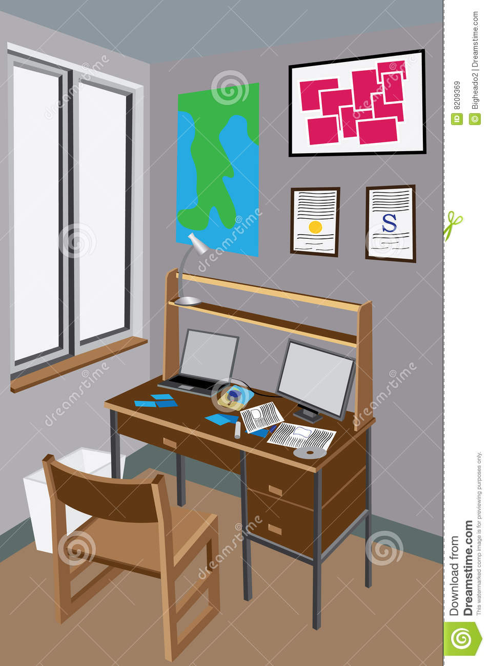 xl desk chair ergonomic qld messy stock vector. illustration of dormitory, residence - 8209369