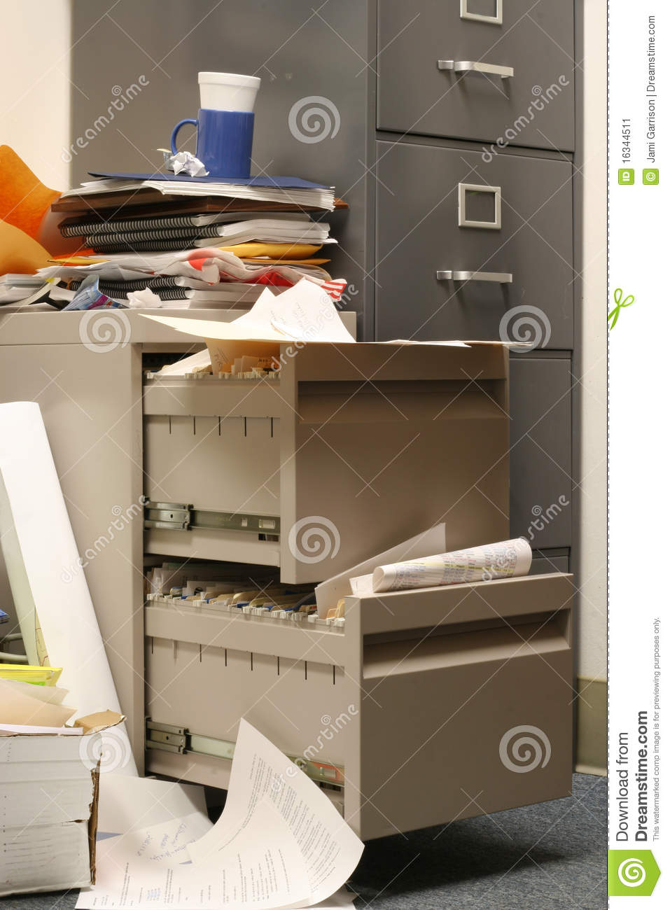 Messy Filing Cabinet stock image Image of compartment  16344511