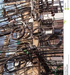 very messy electricity or telephone pole in bangkok thailand [ 957 x 1300 Pixel ]