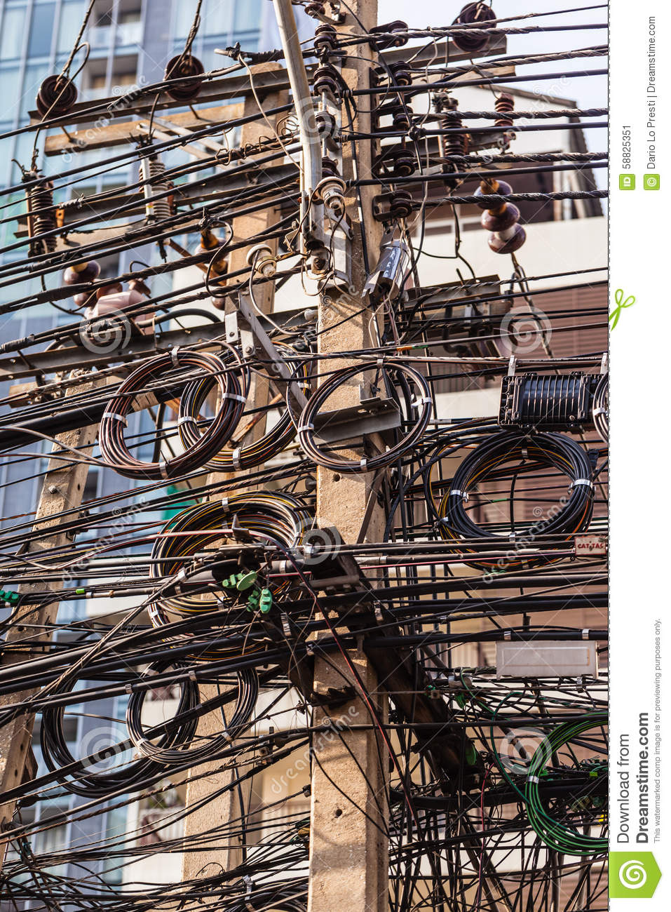 hight resolution of very messy electricity or telephone pole in bangkok thailand
