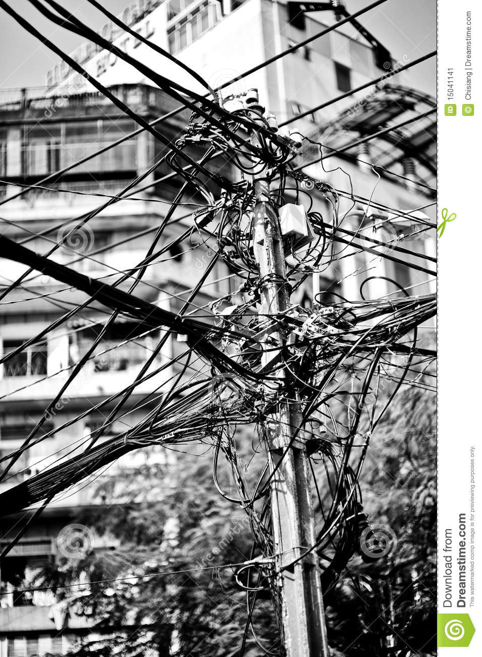 hight resolution of messy telephone cables