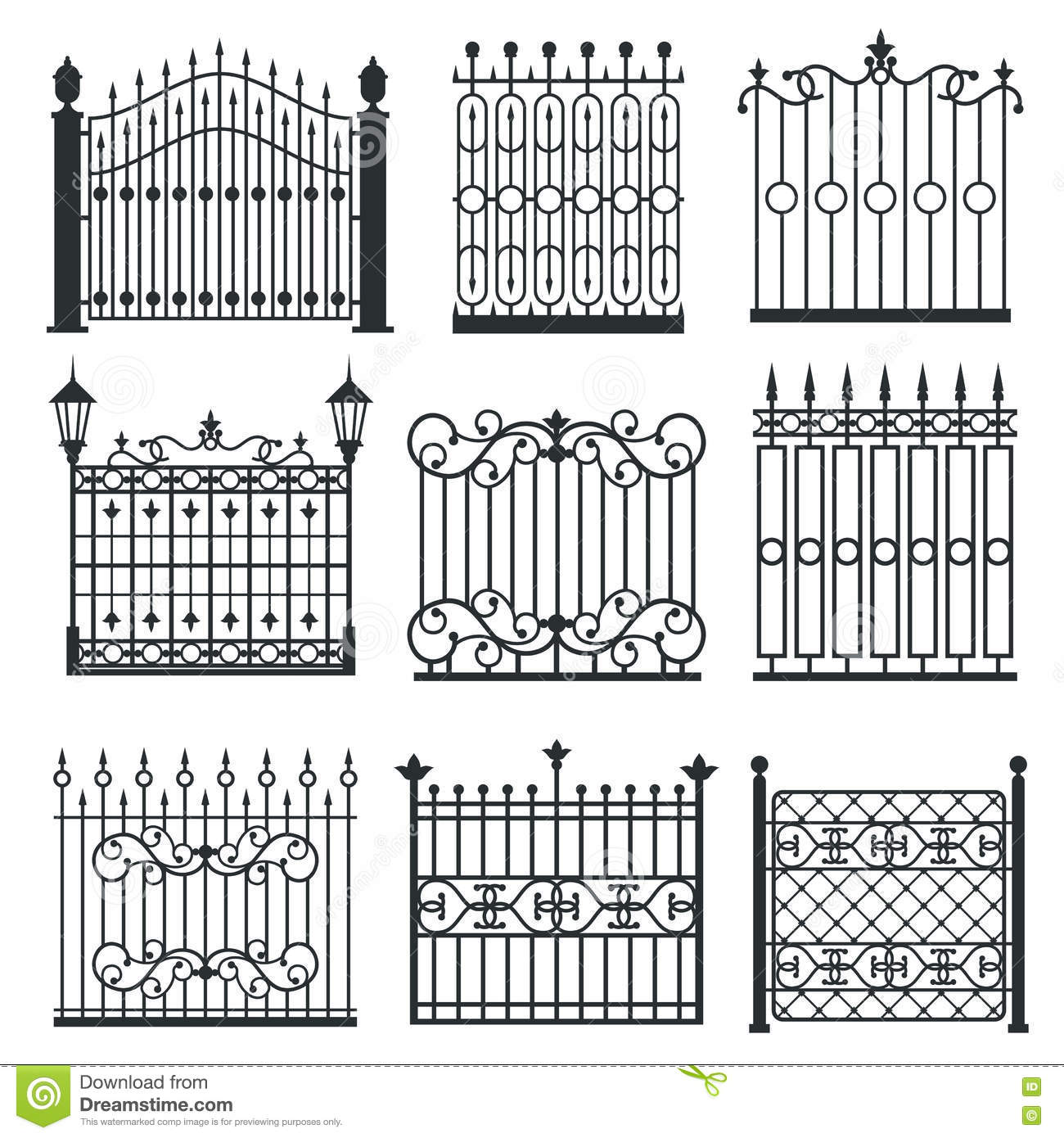 Metal Iron Gates Grilles Fences Vector Set Cartoon