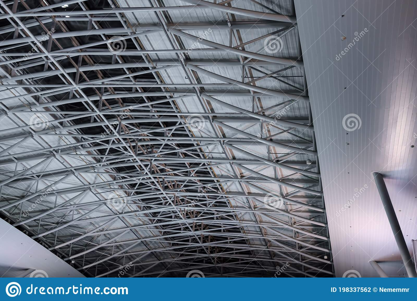 metal pipe roof construction ceiling in a large room lighting and ventilation materials the interior of the room construction stock photo image of house architectural 198337562