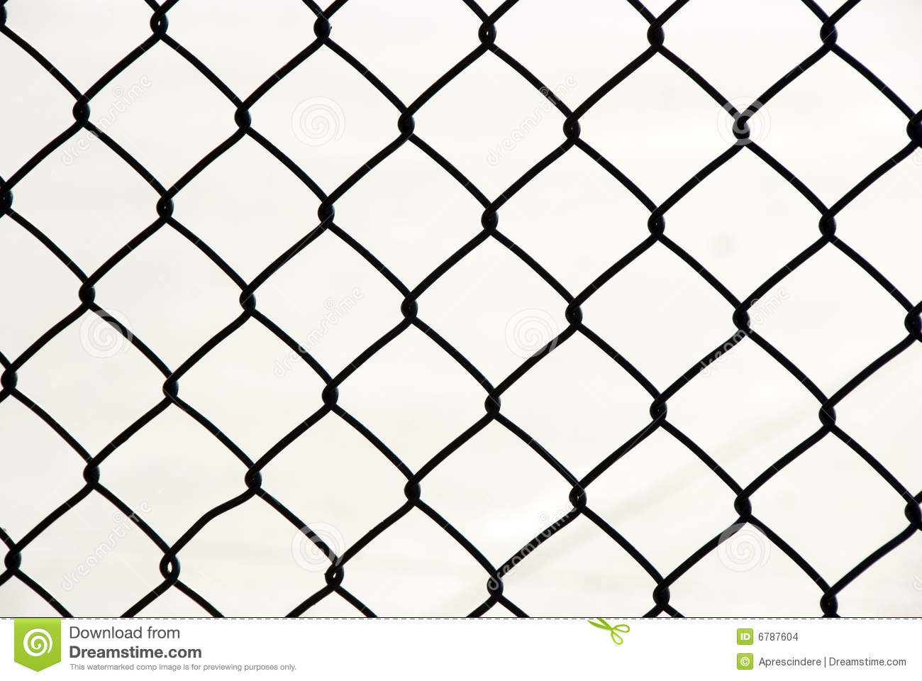 Metallic Wire Chain Link Fence Stock Photo