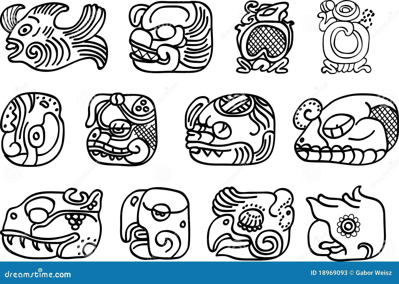 Mexican Aztec Or Maya Motifs Glyphs Stock Vector