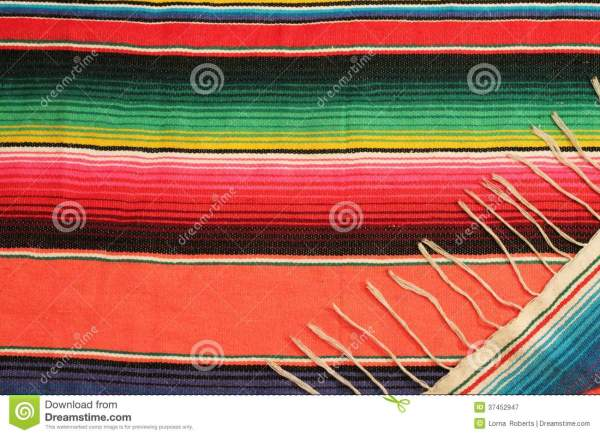 Mexican Fiesta Poncho Rug In Bright Colors Stock