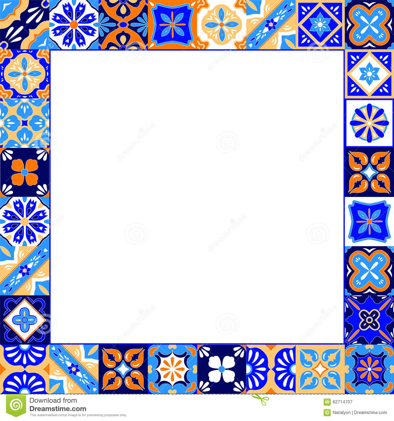 Mexican Stylized Talavera Tiles Frame In Blue Orange And