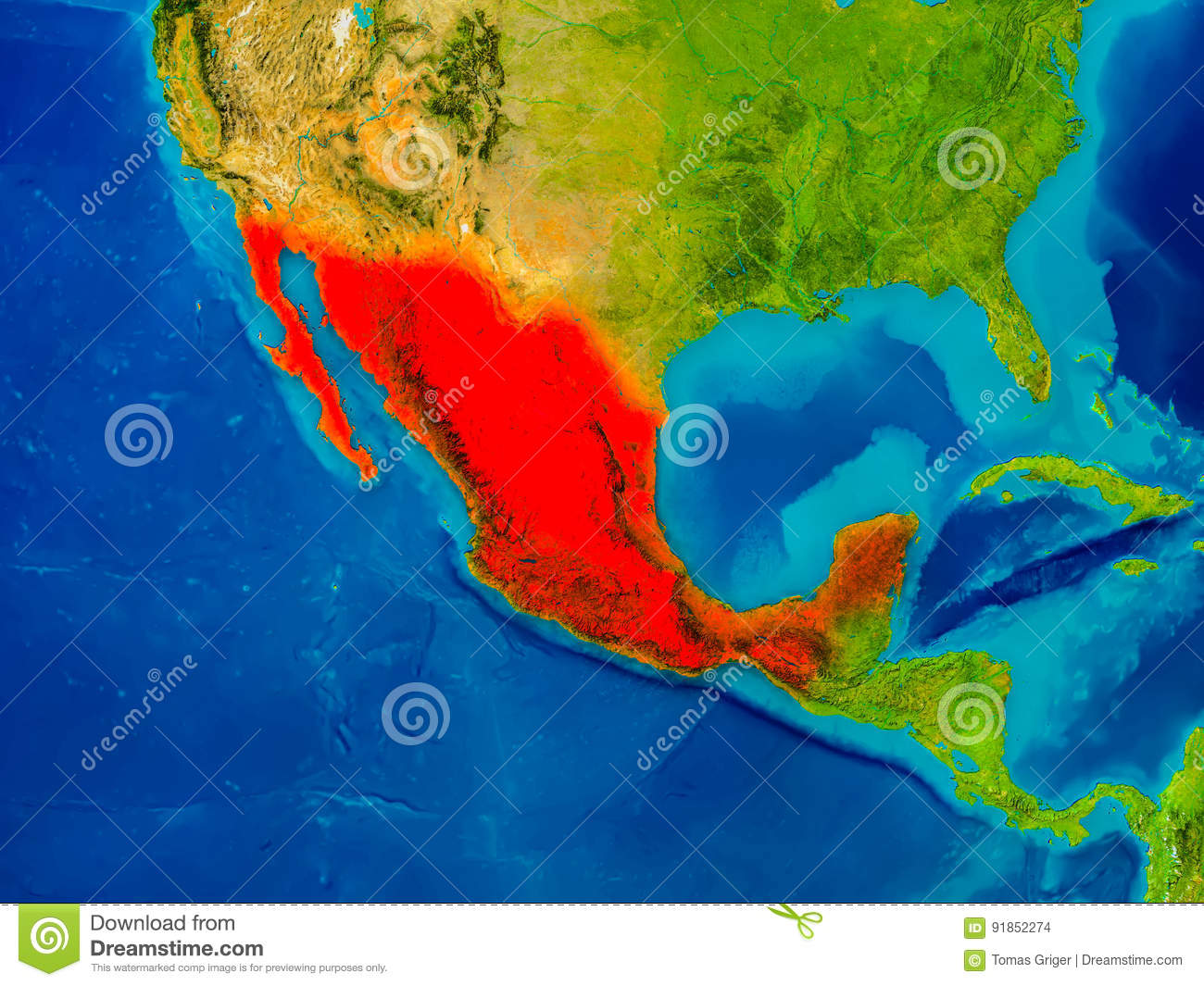 Mexico On Physical Map Stock Illustration Illustration Of