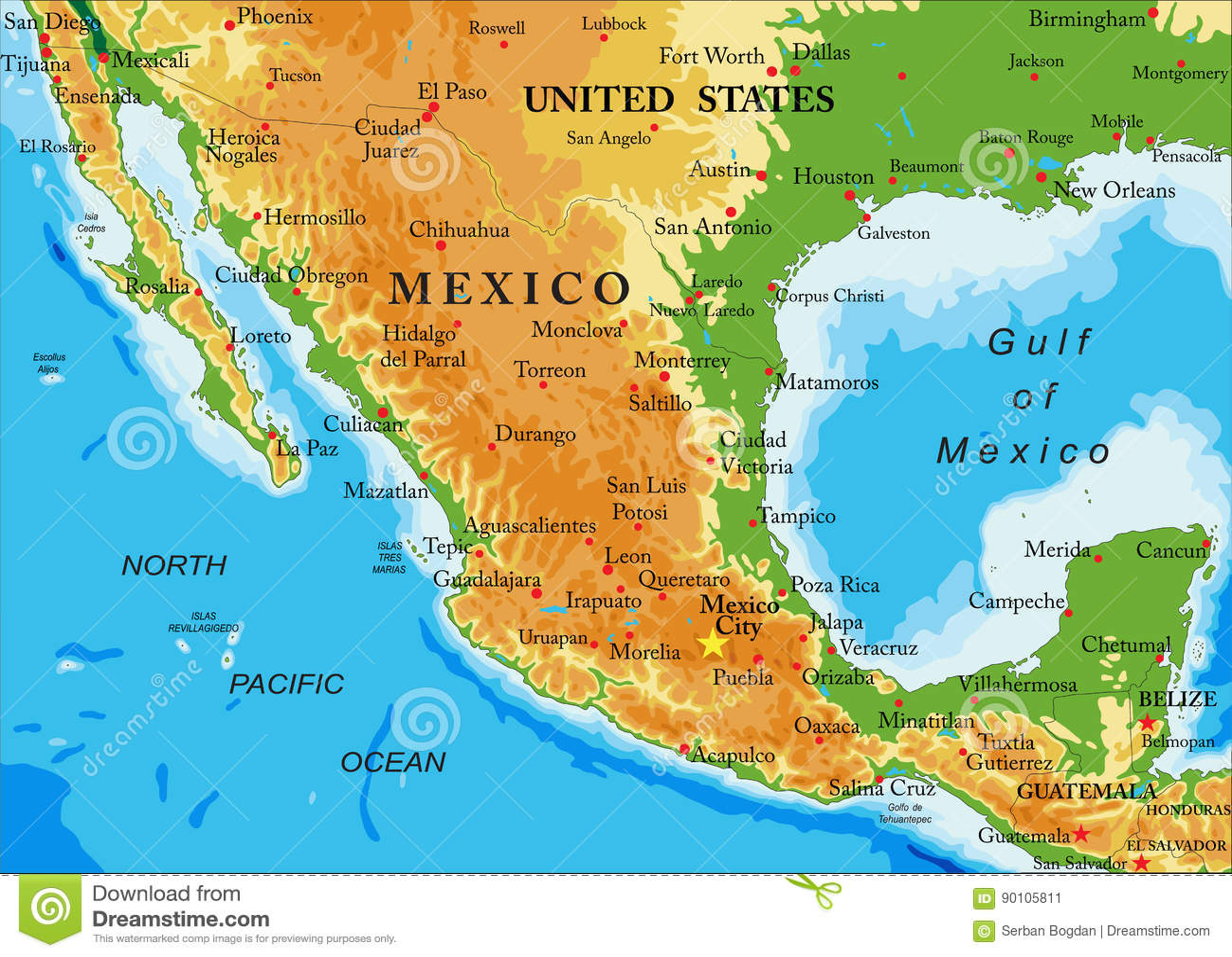 Mexico Relief Map Stock Vector Illustration Of Honduras
